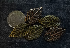 bronze leaves 2   charms pack 5  approx 2cm Limited qty